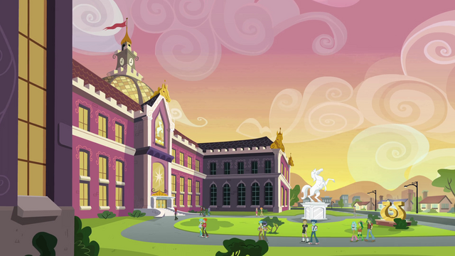 File:Canterlot High School exterior shot 2 EG.png