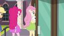 AJ, Pinkie, and Fluttershy enter the school EG3