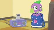 Spike sitting in Twilight's bag EG