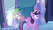 Spike pops through the portal EG