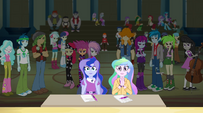 Celestia and Luna applaud the Rainbooms EG2