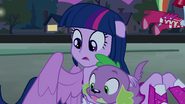 Twilight and Spike looking in the crater EG