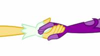 Midnight Sparkle takes Daydream Shimmer's hand EG3