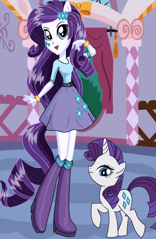 File:FANMADE EqG Rarity with pony counterpart.png