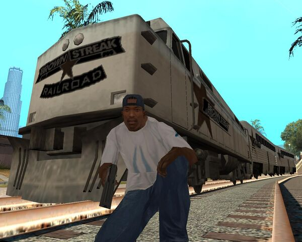 Archivo:CJ y el Brown Streak GTA SA.jpg
