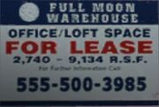 El cartel FOR LEASE