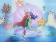 EH16 Violet y Lily actuando junto con los Pokémon del gimnasio.jpg