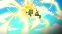 EP805 Froakie protegiendo a Pikachu