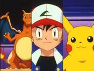 EP110 Charizard, Ash y Pikachu