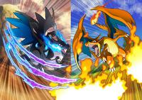 Ilustración de Mega-Charizard X y Mega-Charizard Y