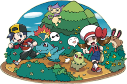 Ilustración mostrando como los Pokémon seguirán a los personajes en HGSS.png