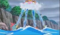 EP791 Pokémon usando Chorro de agua