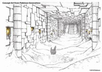 Concept Art de Pokémon Generations del castillo Ancestral