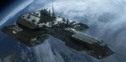 Daedalus class battlecruiser orbits Atlantis