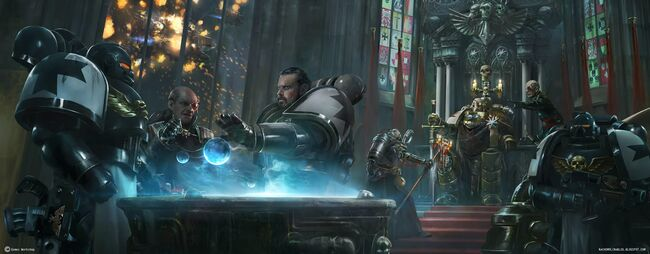 Gran Mariscal Helbrecht Templarios Negros dirige batalla espacial de Armageddon.jpg