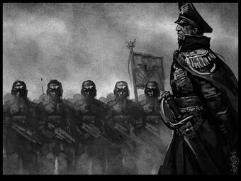 Comisario de la guardia imperial pasando revista a las tropas.jpg