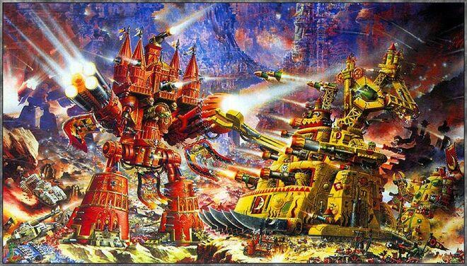 Titanes y Gargantes en combate.