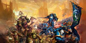 Dark Imperium Guardia de la Muerte vs Primaris Ultramarines 8ª Edición ilustración