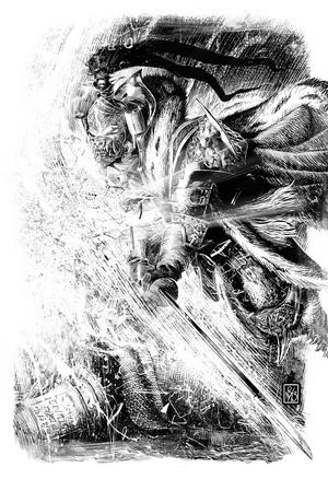 Jaghatai Khan destruye el reflejo de Magnus el Rojo en Prospero.png