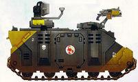 Escorpiones Rojos Transporte Blindado Tropas Rhino Damocles Segunda Compañia Marines Espaciales Astartes Wikihammer