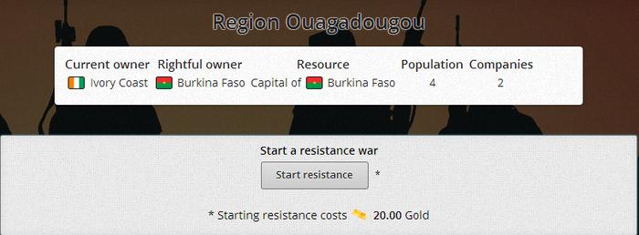 Resistance war start