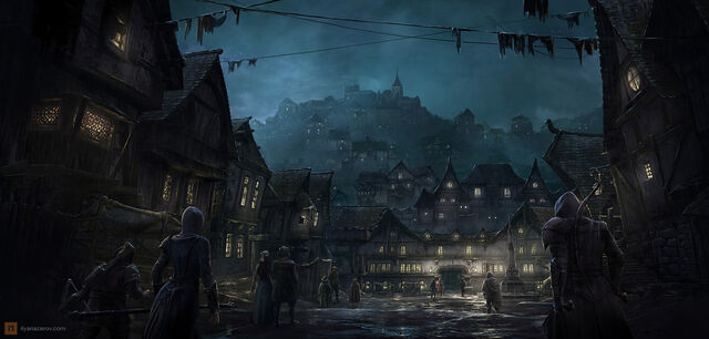 File:1600x764 18659 Lord of The Rings Concept Art 2d fantasy town night lord of the rings picture image digital art.jpg