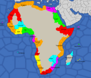 Map of Africa, divided into areas
