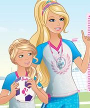 Stacie and Barbie soccer