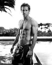 Black and white shirtless Ryan Reynolds photo
