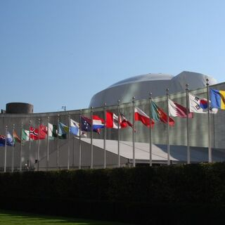Row of Flags in front of General Assembly Building