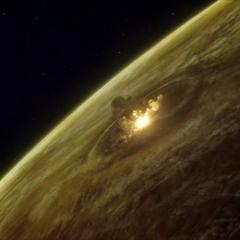 Eros impacting on Venus