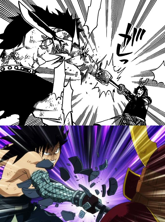 Image - Gajeel grabs sword, manga anime difference.jpg | Fairy ...