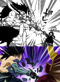 Gajeel grabs sword, manga anime difference