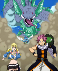 Natsu and others chased by the sea serpent