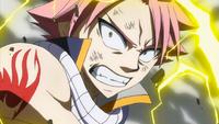 Natsu enveloped in lightning