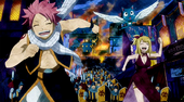 Natsu, Lucy, and Happy running from Rune Knights
