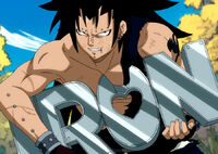 Gajeel eats iron made by Levy