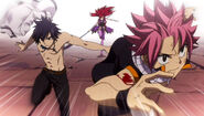 Natsu, Erza and Gray get ready to battle