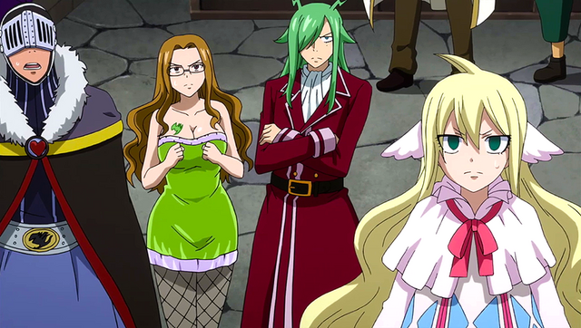 File:Thunder God Tribe and Mavis watch Erza's battle.png