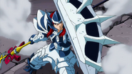 Erza using adamantine and giant's spear to defeat monster