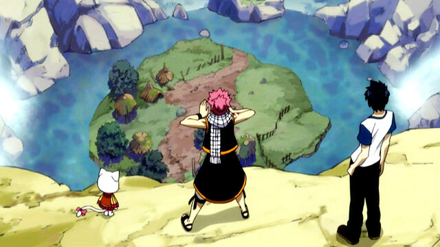 File:Natsu, Gray and Carla arriving at the hideout.JPG
