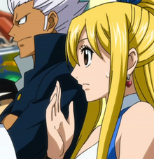 Elfman watching Natsu's fight with Erza.png