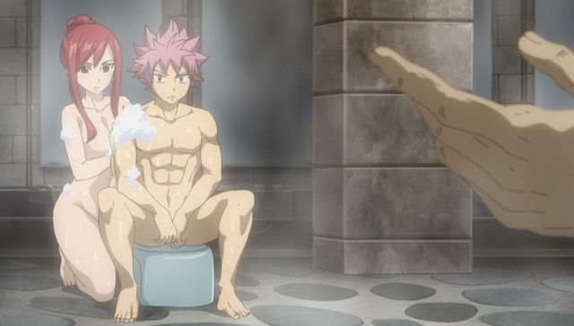 File:Natsu and Erza listen to Warrod.png