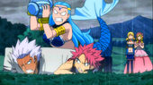 Natsu, Elfman & Aquarius fighting