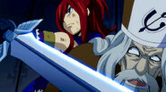 Erza takes Faust hostage