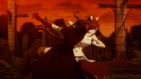 Minerva takes a surprise attack from Erza