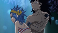 Gajeel and Levy Watch the Fishes