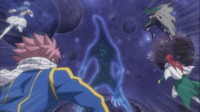 Natsu, Gray, Erza, and Juvia about to Attack the Eclipse Celestial Spirit King