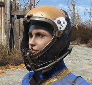 Brown flight helmet worn