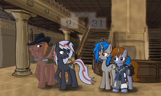 File:145582 - artist-DarrianMH Calamity duplicate fallout equestria Homage Littlepip Velvet Remedy.jpg